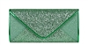 Green Sequin Mesh Bridal Wedding Evening Clutch