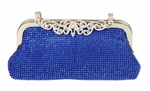 Blue Floral Closure Rhinestone Bridal Clutch