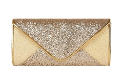 Gold Sequin Mesh Bridal Wedding Evening Clutch
