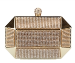 Gold Rhinestone Stud Octagon Hard Box Wedding Evening Clutch