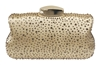 Chicastic Sequin Rhinestone Hard Box Cocktail Wedding Clutch Purse Gold