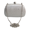 White Crystal Rhinestone Stud Satin Hard Clutch