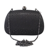 Black Crystal Rhinestone Stud Satin Hard Clutch