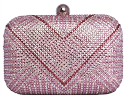 Pink & White Rhinestone Crystal Hard Box Cocktail Clutch Purse