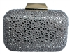 Grey Sequin Crystal Hard Box Cocktail Clutch Purse