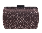 Bronze Brown Sequin Crystal Hard Box Cocktail Clutch Purse