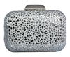 White Bridal Sequin Crystal Hard Box Cocktail Clutch Purse