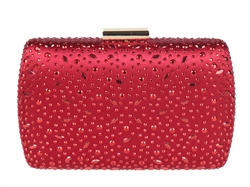 Red Bridal Sequin Crystal Hard Box Cocktail Clutch Purse