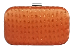 Orange Bridal Sequin Crystal Hard Wedding Clutch