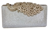 Mesh Rhinestone Peacock Hard Box Clutch