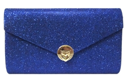 Metallic Glitter Mesh Envelope Fold Over Clutch