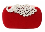 Suede Rhinestone Stud Peacock Evening Bag