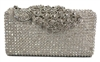 Crystal Stud Peacock Motif Hard Box Evening Clutch Bag