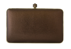 Chicastic Snakeskin Pattern Metal Hard Box Clutch
