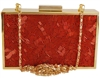 Glass Bugle Bead Metal Hard Box Evening Clutch