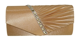 Pleated Satin Wedding Evening Bridal Clutch Purse With Single Rhinestone Decor