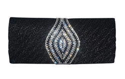 Pleated Satin Wedding Evening Bridal Clutch Purse With Paisley Style Rhinestone Decor