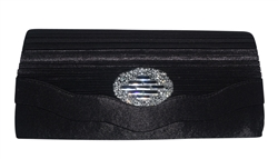 Pleated Satin Wedding Evening Bridal Clutch Purse With Rhinestone Brooch