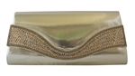 Patent Leather Rhinestone Decor Wedding Cocktail Clutch Purse