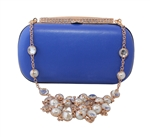 Chicastic Satin Hard Box Cocktail Clutch Purse with Rhinestone Studded Chain