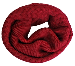 Wine Red Knitted Infinity Tube Cowl Neck Scarf