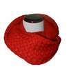 Red Knitted Infinity Tube Cowl Scarf