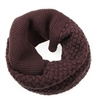 Brown Knitted Infinity Tube Cowl Scarf