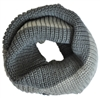Dark & Light Grey Knitted Infinity Tube Cowl Scarf