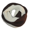 Double Color Brown & Off White Knitted Tube Scarf