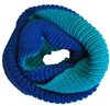 Double Color Blue Knitted Tube Scarf