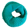 Teal Blue Knitted Infinity Tube Cowl Scarf