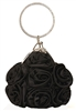 Black Satin Rosette Ring Handle Wristlet Clutch