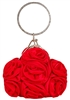 Red Satin Rosette Ring Handle Wristlet Clutch
