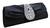 Black Silk Rhinestone Wedding Clutch Bag