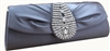 Gray Silk Rhinestone Wedding Clutch Bag