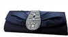 Navy Blue Silk Rhinestone Wedding Clutch Bag