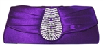 Purple rhinestone clutch purse handbag