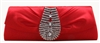 True Red Rhinestone Clutch Purse Handbag