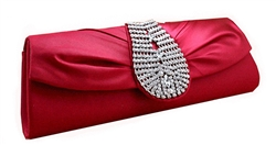 Deep Red Rhinestone Clutch Purse Handbag