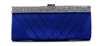 Royal Blue Rhinestones & Satin Wedding Clutch Bag