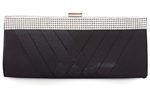 Black Rhinestones & Satin Cocktail Evening Clutch