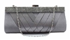 Grey Satin Cocktail Evening Wedding Clutch Purse