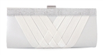 White Satin Cocktail Evening Wedding Clutch Purse