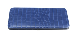 Blue Snake Skin Print Leather Flat Hard Clutch Wallet