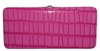 Fuchsia Pink Snake Skin Print Leather Flat Hard Clutch Wallet