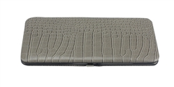 Silver Grey Snake Skin Print Leather Flat Wallet
