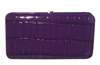 Purple Small Snake Skin Print Leather Flat Wallet