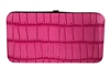 Pink Small Snake Skin Print Leather Flat Wallet