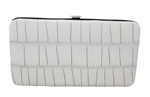 White Small Snake Skin Print Leather Flat Wallet