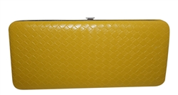 Weave Pattern Faux Patent Leather Flat Hard Clutch Wallet